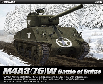 "Academy 1/35 Scale - M4A3 (76)W ""Battle of the Bulge"""
